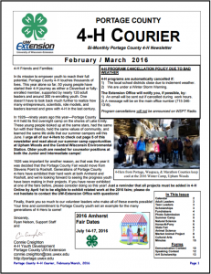 February/March 2016 4H Courier