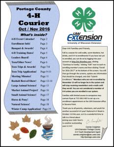 October/November 2016 4H Courier