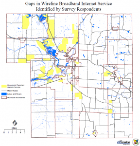 Map of gaps in wireline broadband in Portage County