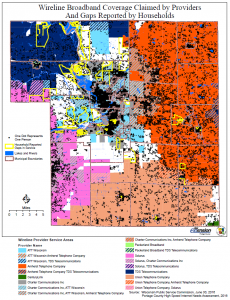 Map of wireline broadband coverage in Portage County
